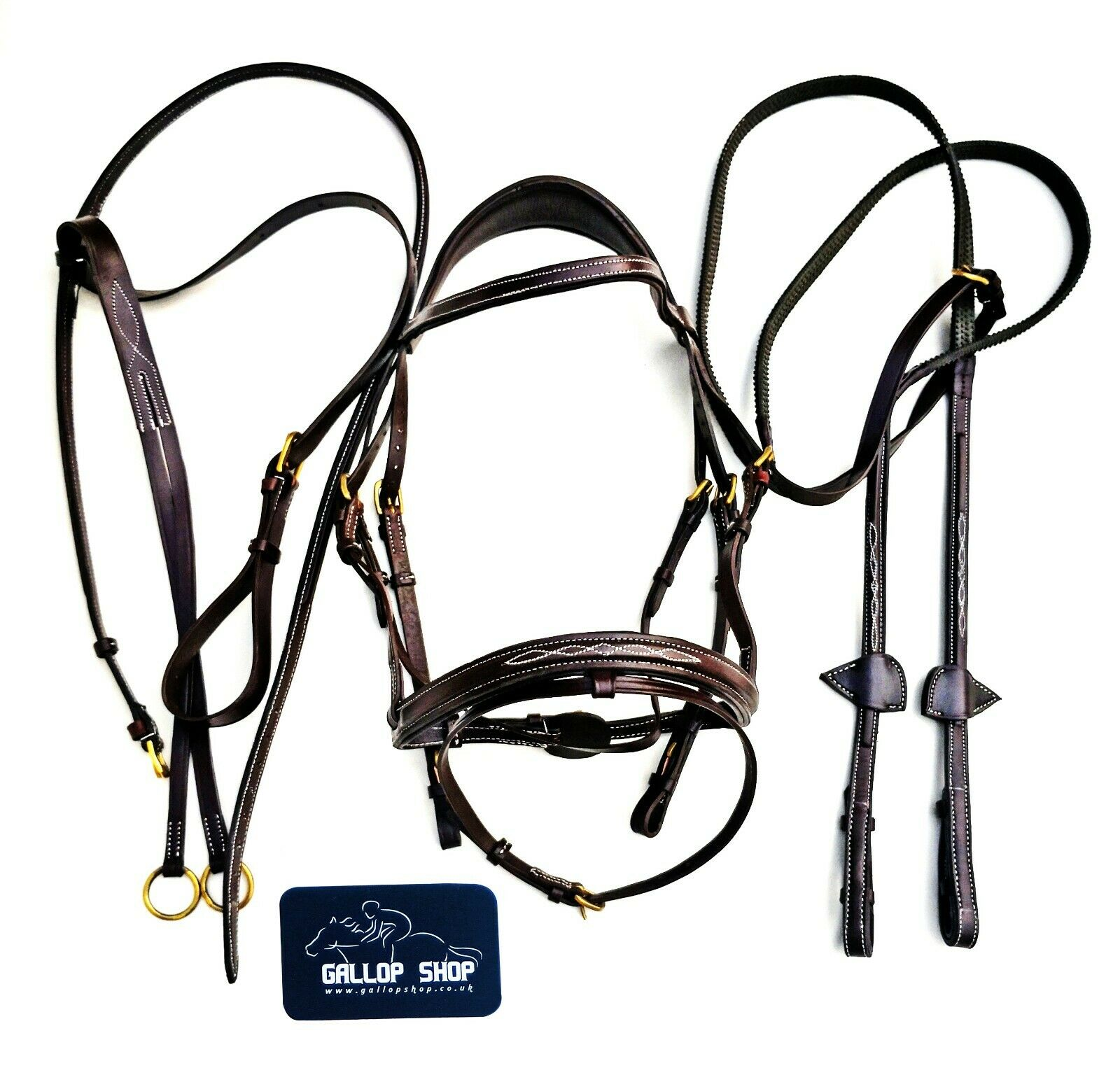Horse Bridle  Cowhide Leather Padded Bridle Set Rubber Reins Leather Brest Plate  outlet online store