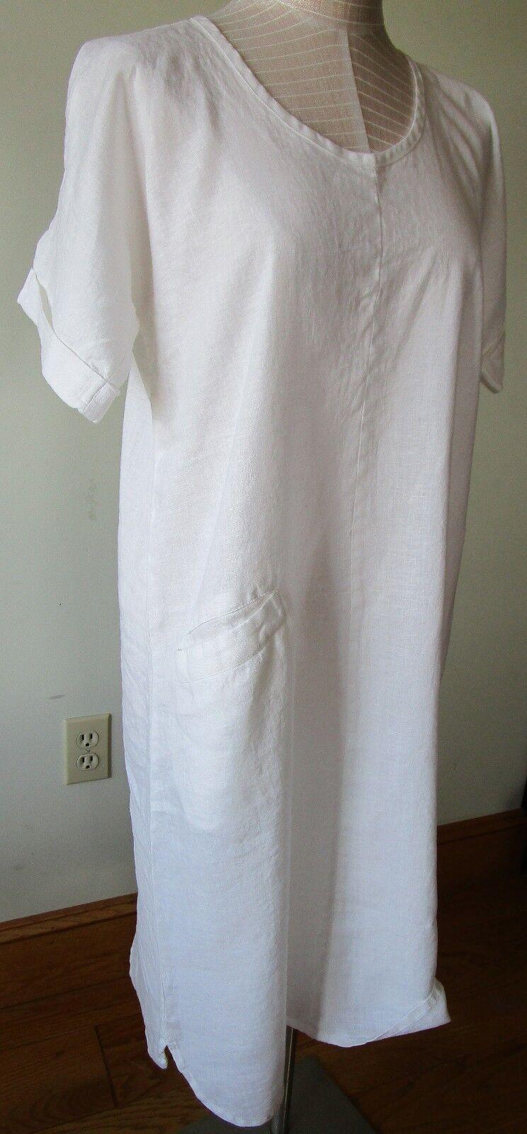 FLAX Designs  LINEN DRESS  S  &  M    NWT  Sage  Dress  2018 BOLD  WHITE