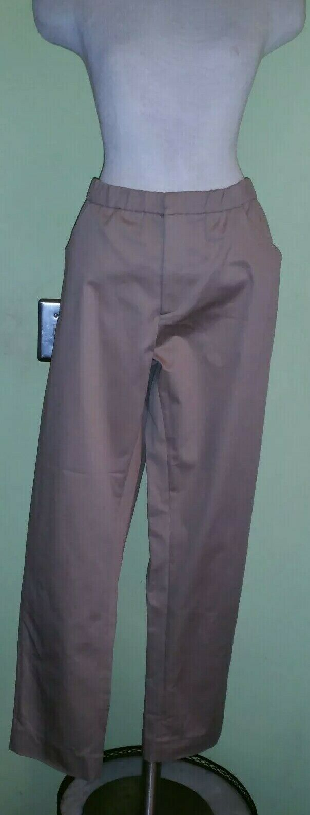 Marni Tan Cotton Pants Sz 8 NWT  625 PAMAL03A00 soft cotton drill cropped  ankle