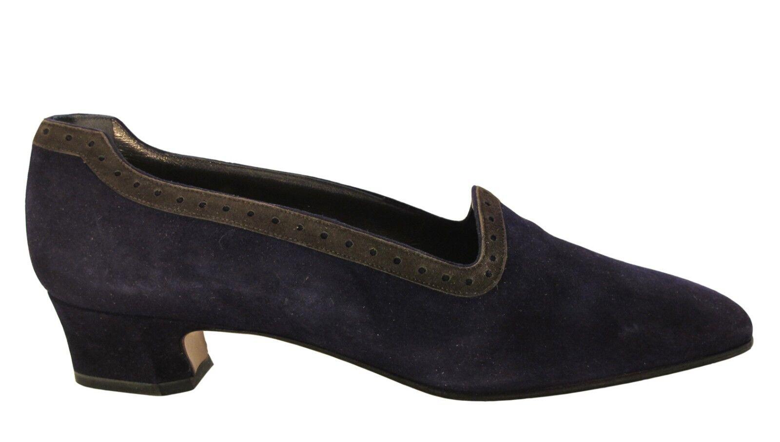 Mima Venezia Women's Italian 630 Slip on Shoes Low Heel Suede Purple/Grey