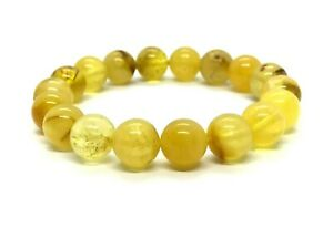 AMBER-BRACELET-Natural-BALTIC-AMBER-Round-Beads-Yellow-Elastic-Gift-11-8g-12529