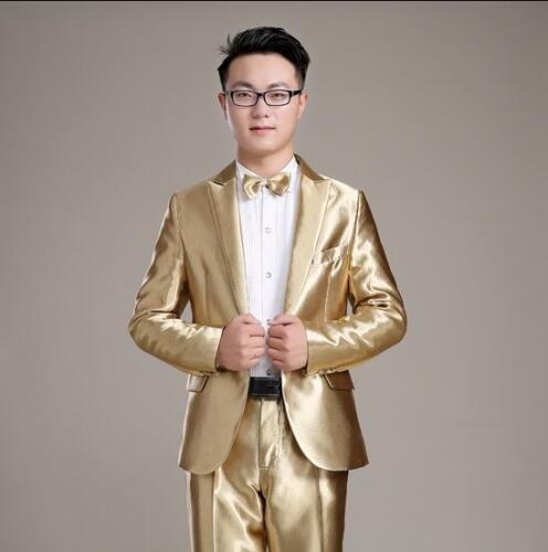 2pcs Mens Gold Blazer Suits Jacket Pants Single-breasted Coats Party Perform
