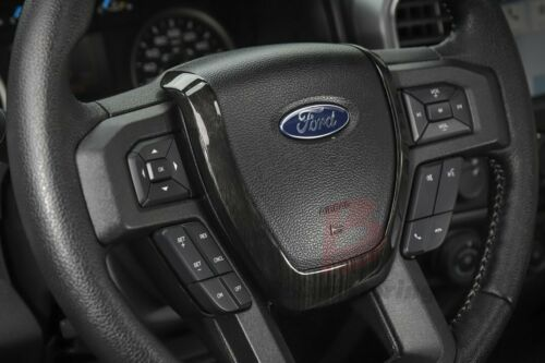Black Wood ABS Steering Wheel Panel Moulding Cover Trim For Ford F150 2015-2018