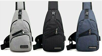 Men/'s Luminous Shoulder Bag Sling Chest Pack w//USB Charging Crossbody Handbag