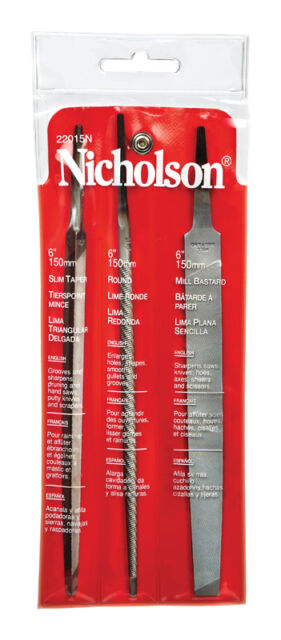 8 in Length American Pattern File Triangular Extra-Slim Taper Shape Nicholson Single Cut 12 Units