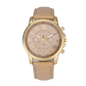 Damen-Modisch-Armbanduhr-Roman-Numerals-Faux-Leder-Metal-Analoguhr-Quartz-Watch