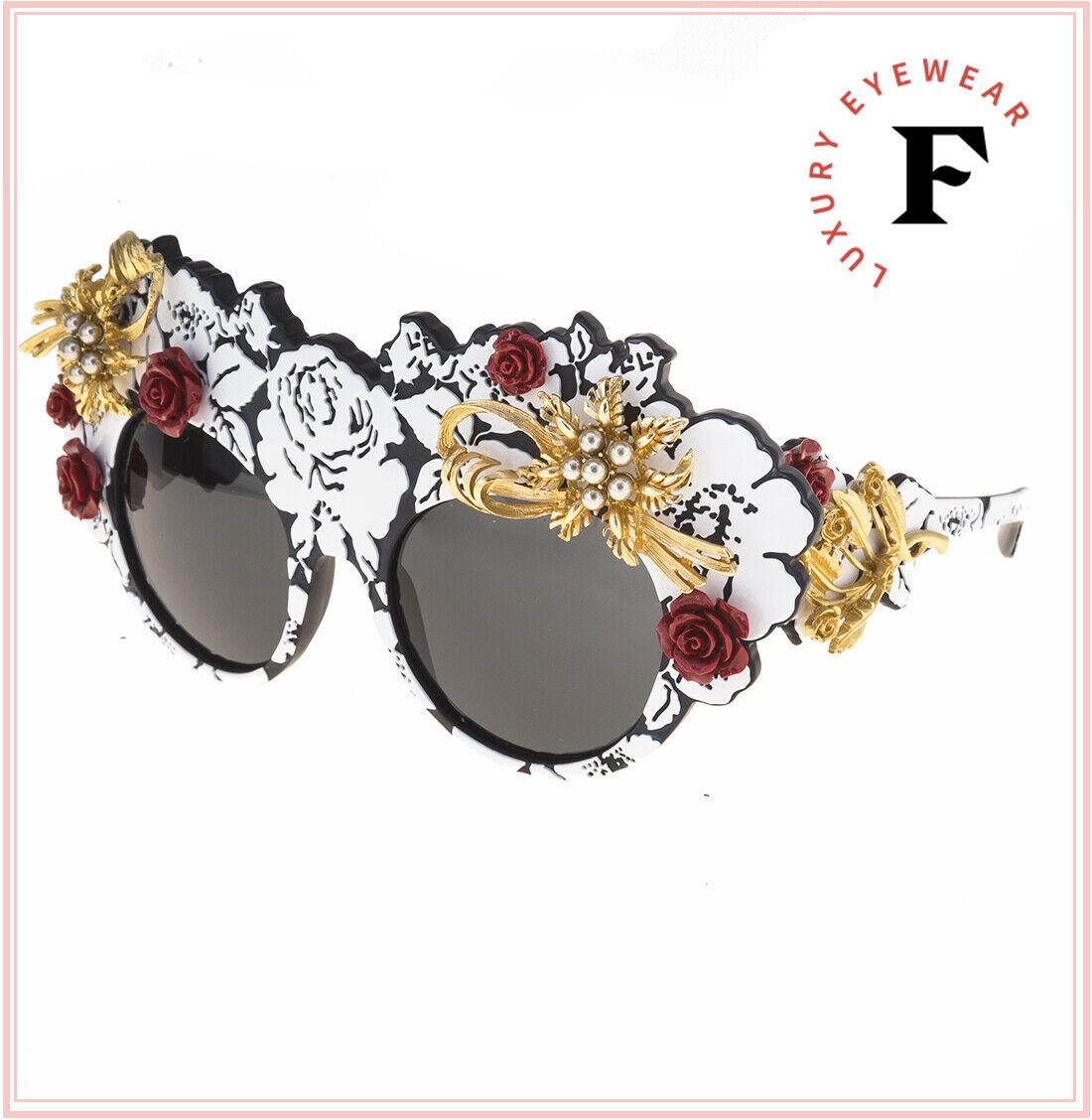 Dolce & Gabbana Mamas Brocade Floral 4275 Black White Limited Sunglasses DG275HS