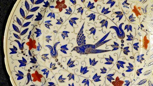 Victorian antique ornate blue /& gold Sparrow bird porcelain china plate