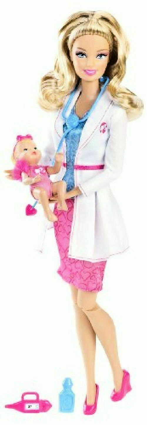 2012  Barbie I Can Be a Baby Doctor Blonde Doll & Baby Retirot Rare