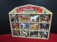 Melissa & Doug Toy Horse Set 12 Horses Wooden Barn Storage Pasture Pals