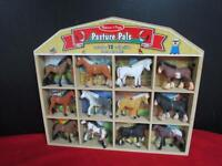 Melissa & Doug Toy Horse Set 12 Horses Wooden Barn Storage Pasture Pals