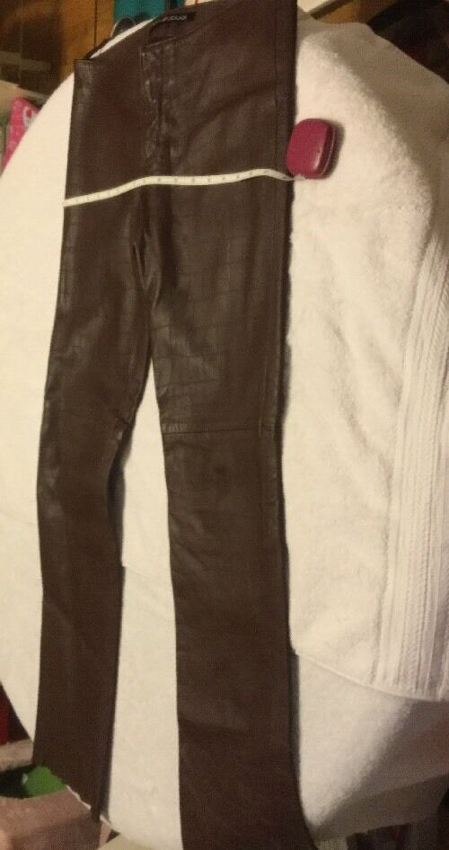 NWT DKNY Women's BROWN CROCO Lamb Leather PANTS Sz 7  RETAIL  895