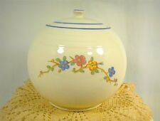 VINTAGE COOKIE JAR AND LID ROUND WHITE W/ BLUE RINGS AND FLOWERS FLORAL PATTERN