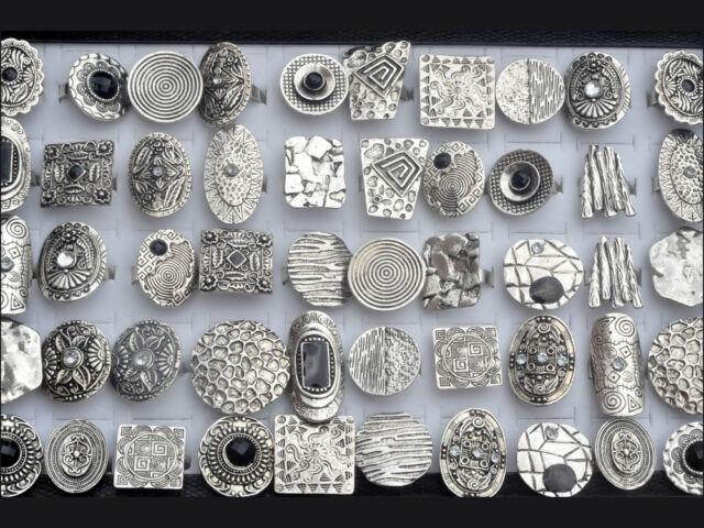 5pcs Bulk Retro Wholesale Fashion Lots Bulks Tibet Silver P Vintage Enamel Rings