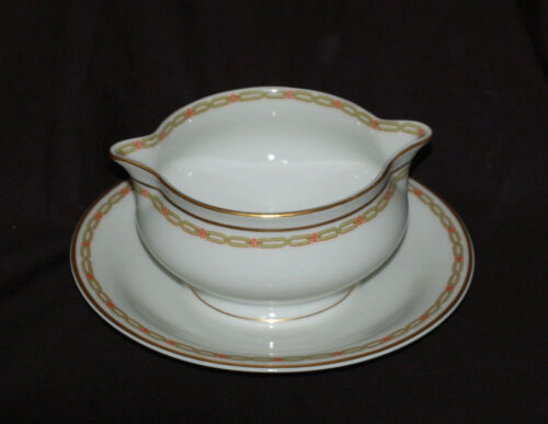 1 Theodore Haviland China Gravy Boat with Under Plate Schleiger 881 Green Chain