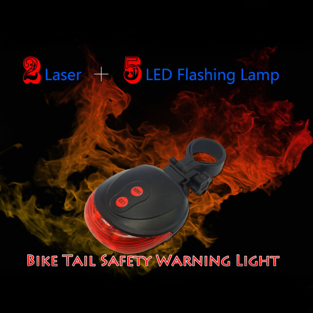 2 Laser 5 LED Lamp Light Rear Cycling Bicycle Bike Tail Safety Warning Red 2/_7