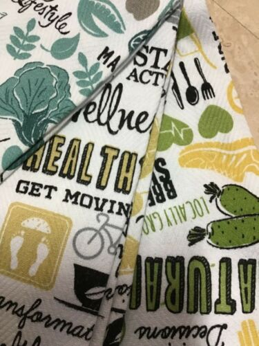 CYNTHIA ROWLEY SET OF 3 KITCHEN TOWELS EXERCISE FITNESS WATER ORGANIC NWT