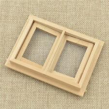 1/12 Dollhouse Miniature Unpainted Wooden 2 Pane Window Model Rooms Decor DIY