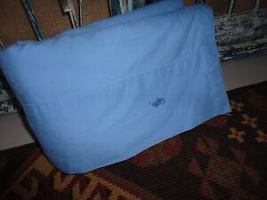 VINTAGE RALPH LAUREN POLO PONY QUEEN FLAT SHEET BLUE 100% COTTON 275TC