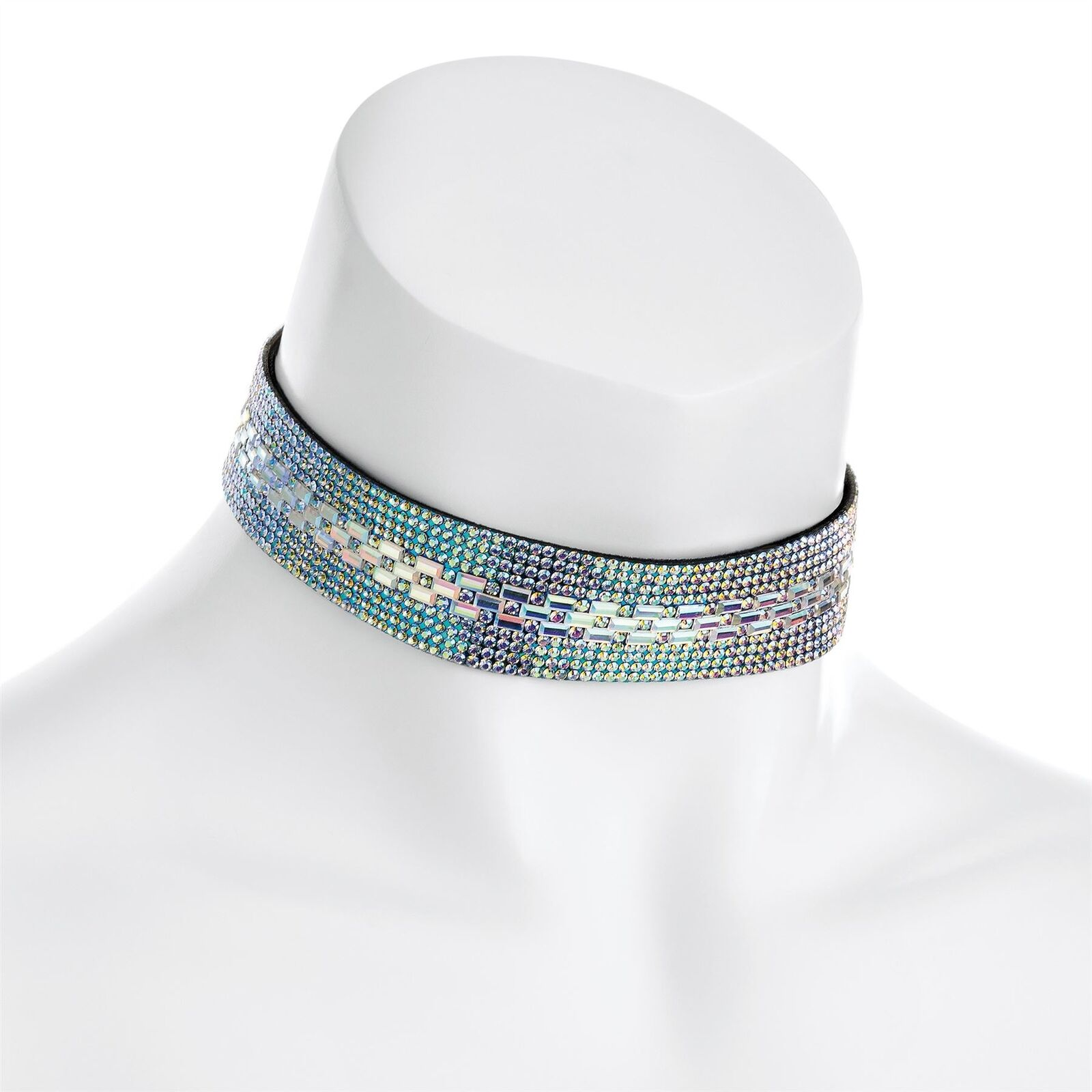 New Womens AB Crystal Silver Gold Color Heat Seal Choker Necklace