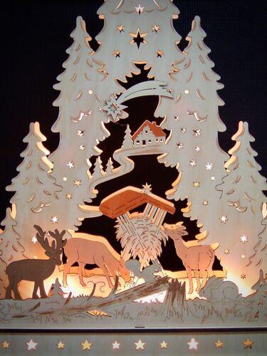 3D LED Lichterbogen Schwibbogen Spitze mit Unterbank Tiere im Wald Rehe 10304