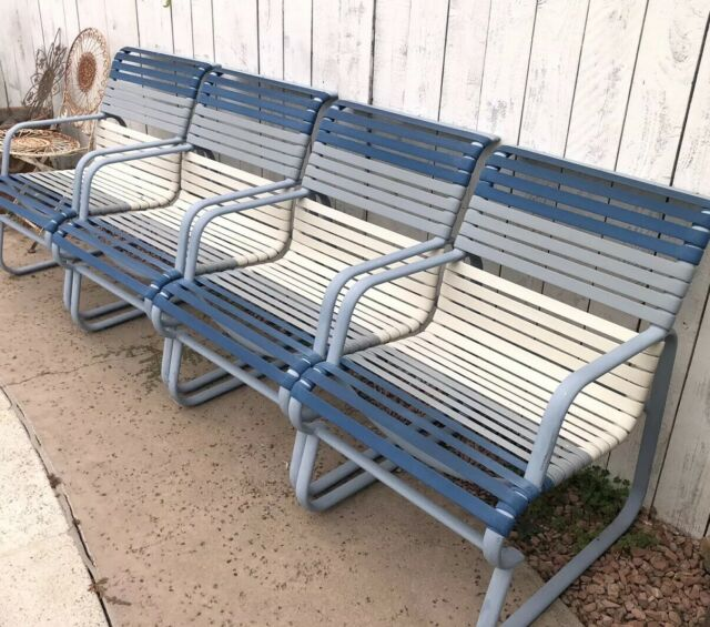 ❤️ 4 Vintage beach Chairs Lounge Lawn Pool Beach RETRO Chair blue metal  webbing