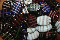 Venetian Style Lampwork-glass Beads-18x25-flat Oval-gold Line - 24 Beads/pack