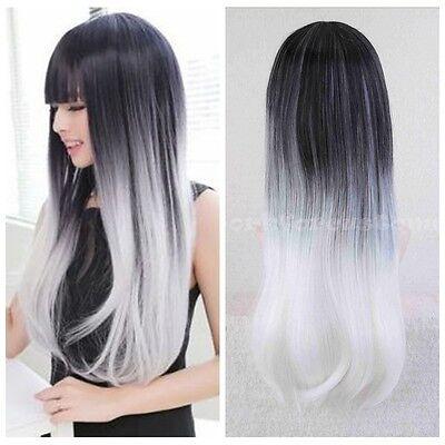 Fashion Women's Long Straight Wavy Hair Cosplay Anime Lolita Full Wigs Wig Cap
