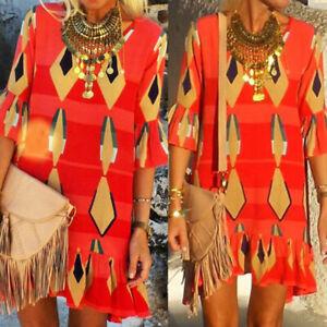 Womens-Red-Half-Sleeve-Beach-Summer-Holiday-Geometric-Bohemia-Shift-Mini-Dress
