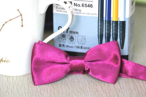 Boys Children Solid Bowtie Pre Tied Wedding Party Satin Adjustable Bow Tie