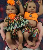 2Pc100% Silicone Mini Black Lifelike Reborn Baby Boy Girl Doll Kid Birthday Gift