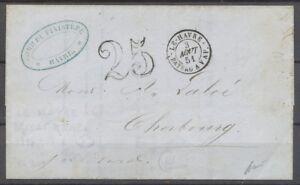1851-Lettre-Cachet-LE-HAVRE-BATEAU-A-VAP-Taxe-25-Salles-309-Ind-24-X1377