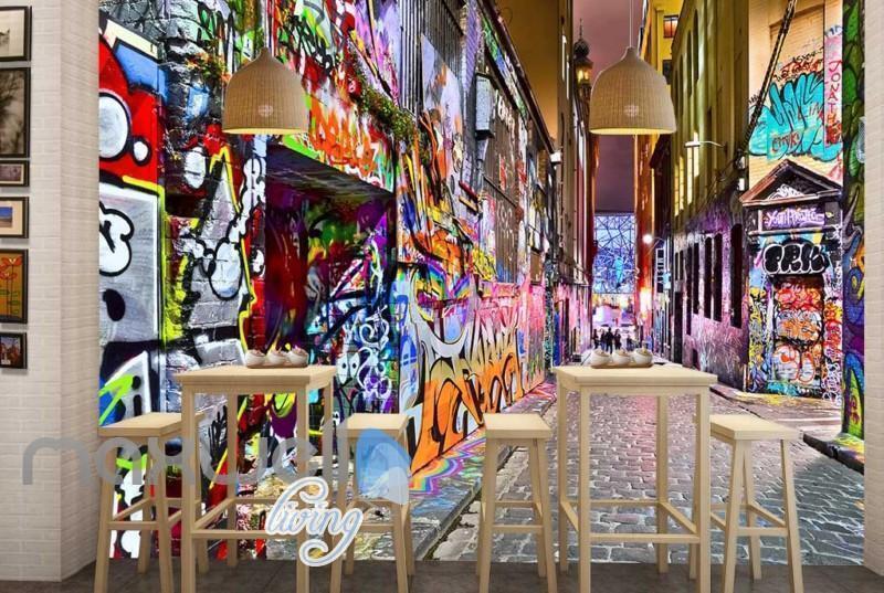 3D Graffiti Street Lane Art Gallery Wall Murals Wallpaper Decals Prints Decor