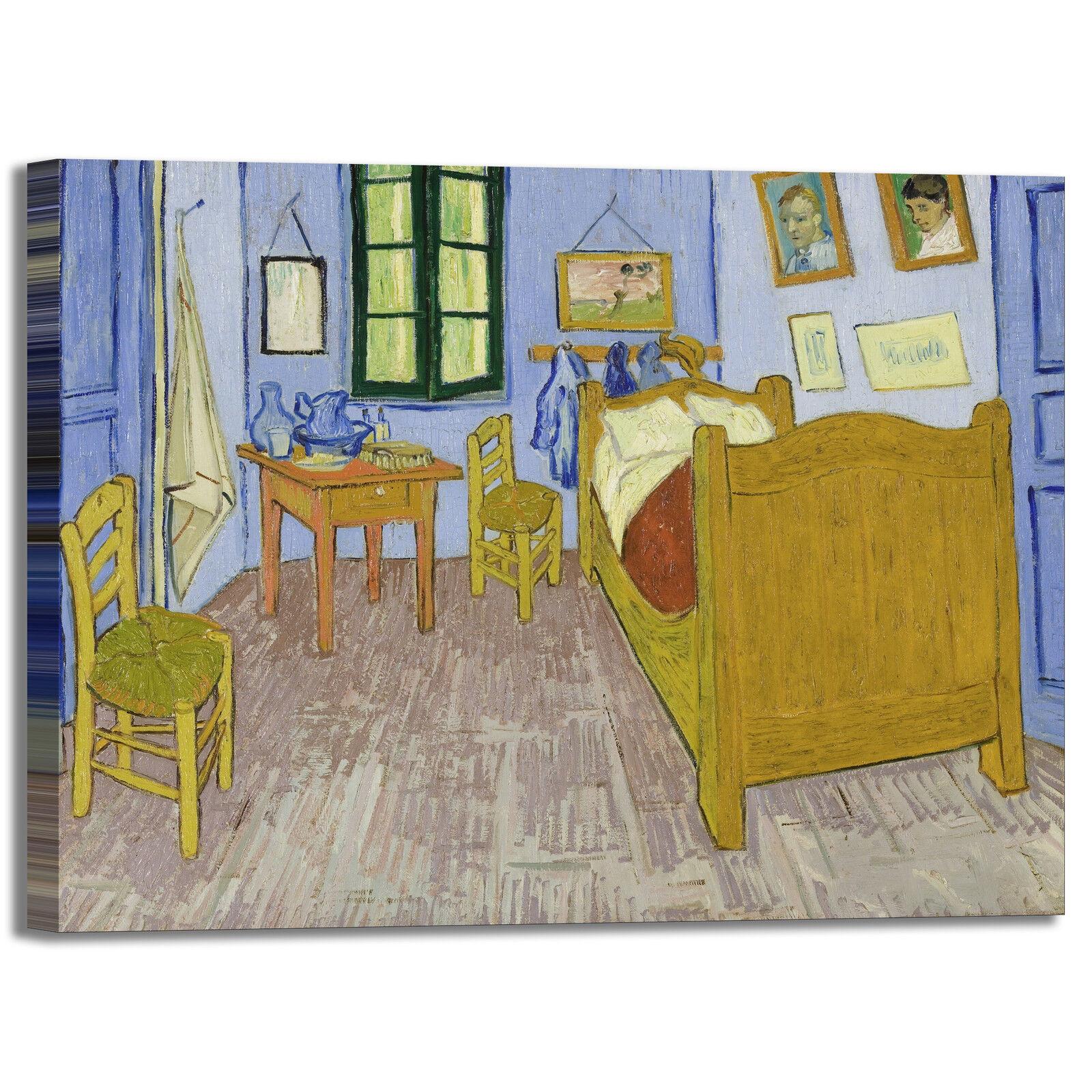 tela stampa quadro design letto da camera la Gogh Van ...
