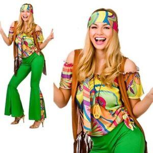 1868f0e7a080 Detalles de Hippy Mujer Disfraz de Años 60 Mods Rockeros Disfraz Hippy Mujer
