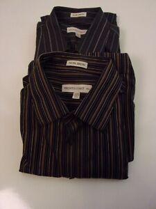PRONTO UOMO No iron Button Up Dress Shirt Long Sleeve Size XL Lot of 2