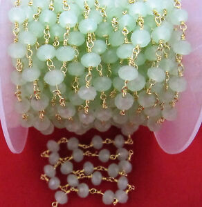 10-Ft-AAA-Green-Chalcedony-Rosary-Chain-6mm-Hydro-Quartz-Beads-Rondelle-Faceted