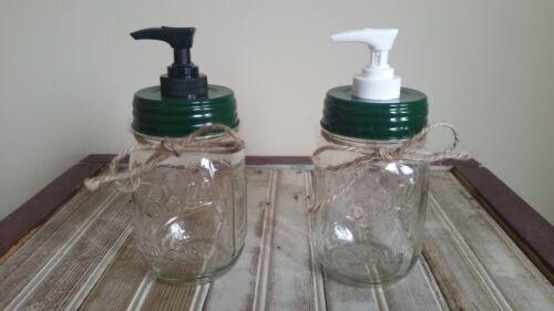 Mason Jar Soap Pump Dispenser Hunter Green Lid Plastic Pump Rustic Jar Optional