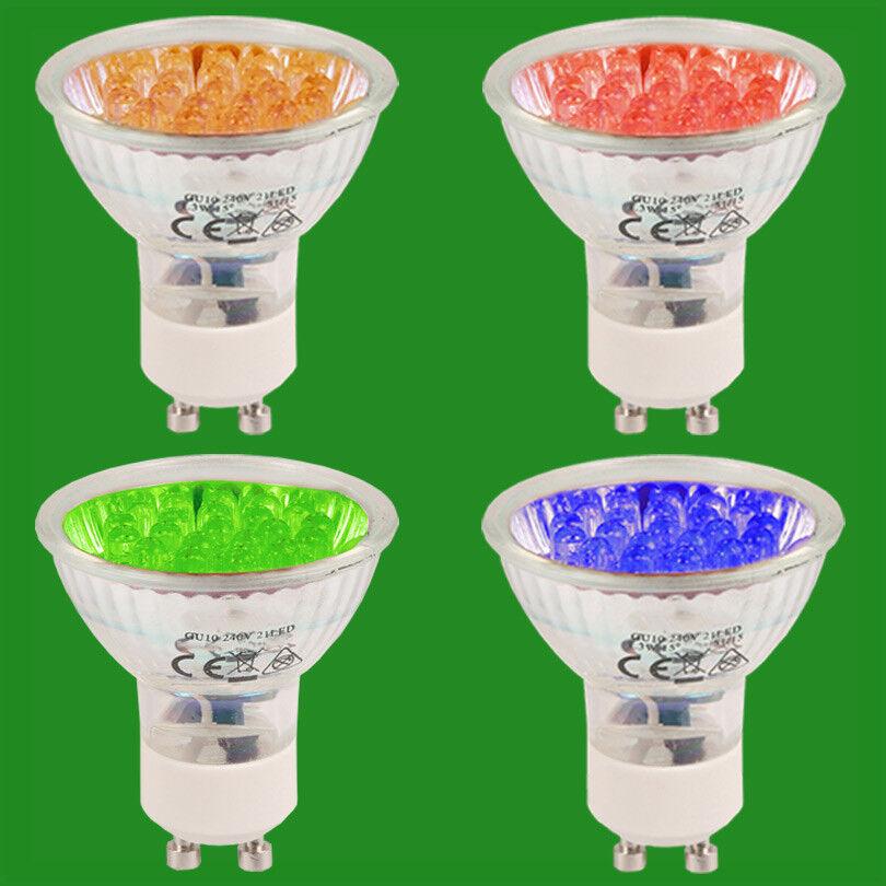 12x 1.3W+ 21 LED GU10 Colourot Spot Light Bulbs Blau Orange rot Down Light Lamps