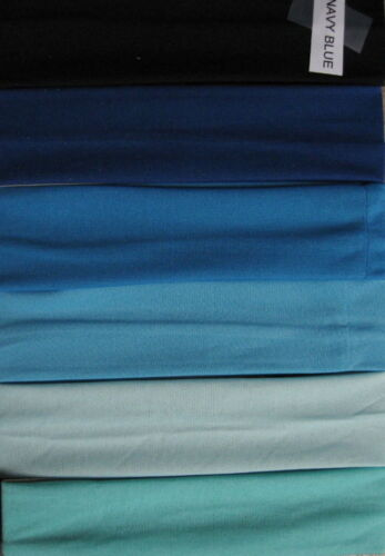 """6 SHADES of BLUE  Headbands 2/"""" wide ontinuous stretch LOT Nylon colors"""