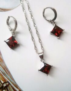 A98-Sterling-Silver-Art-Deco-Vintage-Red-Ruby-Cube-Drop-Necklace-Earrings