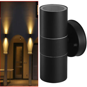 Black-Stainless-Steel-Up-Down-Wall-Light-GU10-Double-Outdoor-Spot-LED-Lamp-DCUK