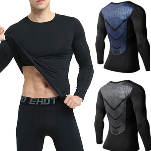 Men/'s Compression Gym Sports T-Shirts Armour Base Layer Top Long Sleeve Thermal