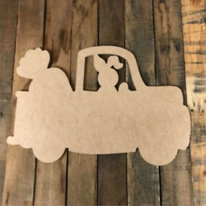 Details About Wood Bunny Truck Shape Unfinished Shape Wooden Easter Cutout Paintable Craft
