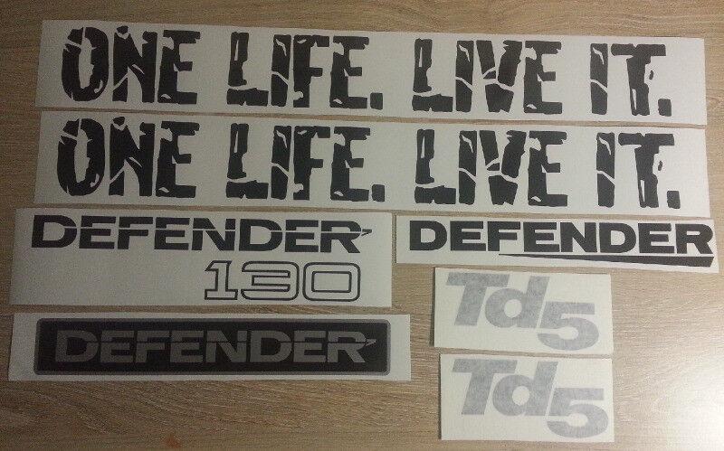 Land Rover Defender 130 decals graphics vinyl cut stickers