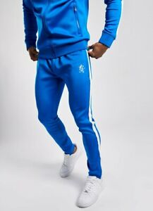 Gym-King-Mens-New-Basis-Poly-Joggers-Tracksuit-Bottoms-Sea-Blue