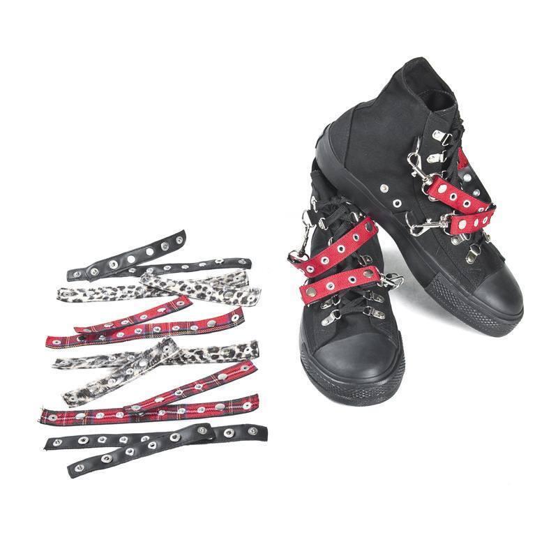 Sneaker mit auswechselbaren Gürteln, schwarz, Gothic, Totenkopfprägung NEU & OVP