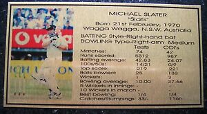 MICHAEL SLATER Gold Plaque picture and stats new 150x80mm