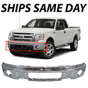 NEW-Chrome-Steel-Front-Bumper-Face-Bar-for-2009-2014-Ford-F150-Pickup-W-Fog