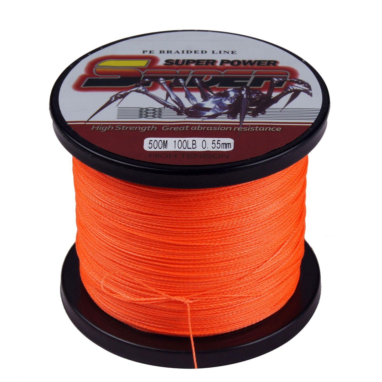 Spider 100M 300M 500M 1000M 1500M 6LB-300LB orange Dyneema Tresses Pêche Ligne